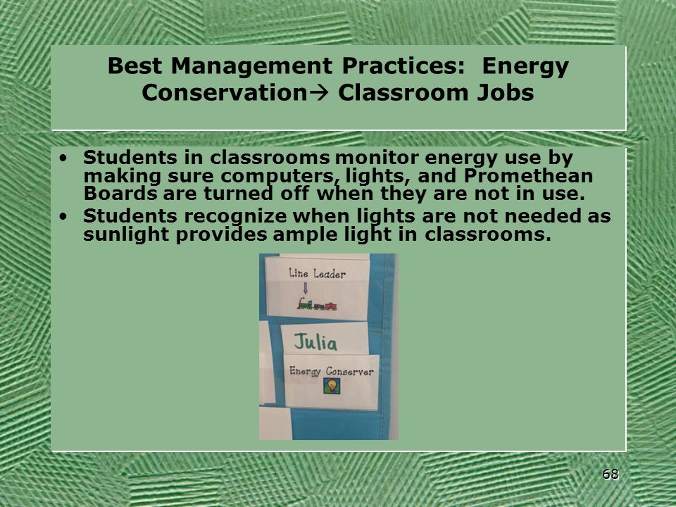 Best Management Practices: Energy Conservation Classroom Jobs