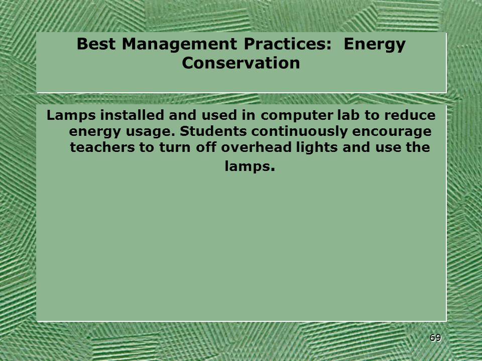 Best Management Practices: Energy Conservation