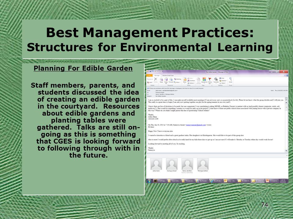 Best Management Practices: Structures for Environmental Learning