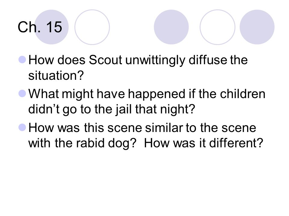 Ch. 15 How does Scout unwittingly diffuse the situation