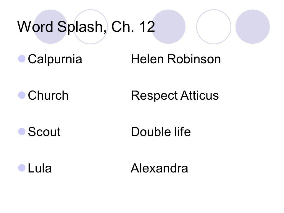 Word Splash, Ch. 12 Calpurnia Helen Robinson Church Respect Atticus