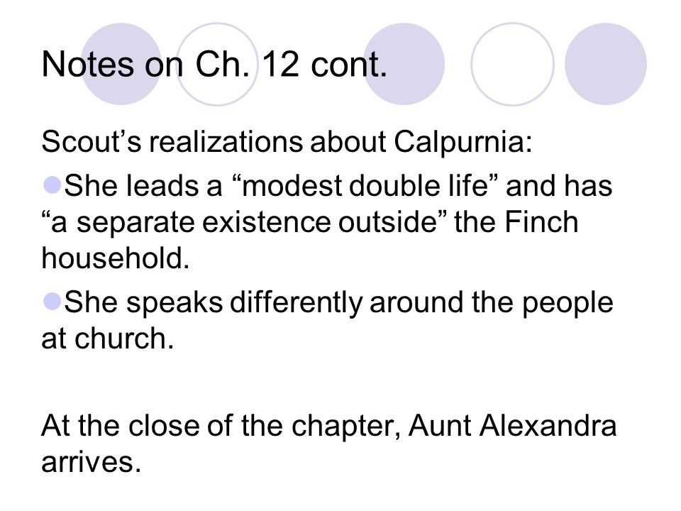 Notes on Ch. 12 cont. Scout's realizations about Calpurnia: