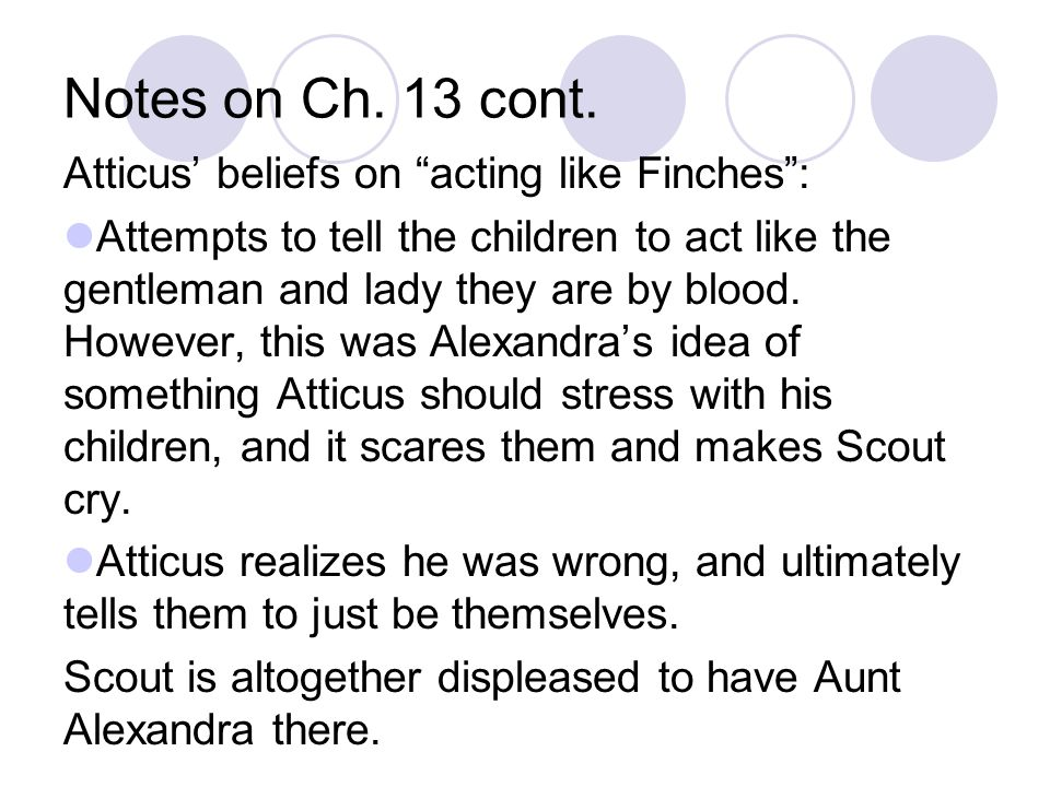 Notes on Ch. 13 cont. Atticus' beliefs on acting like Finches :
