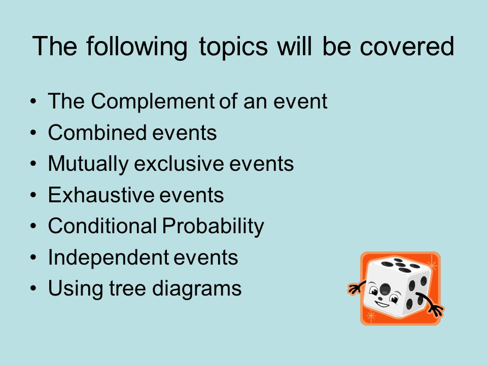 The following topics will be covered
