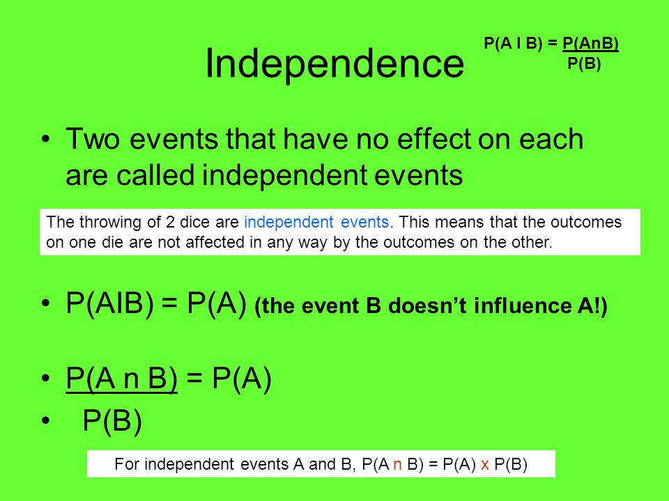For independent events A and B, P(A n B) = P(A) x P(B)