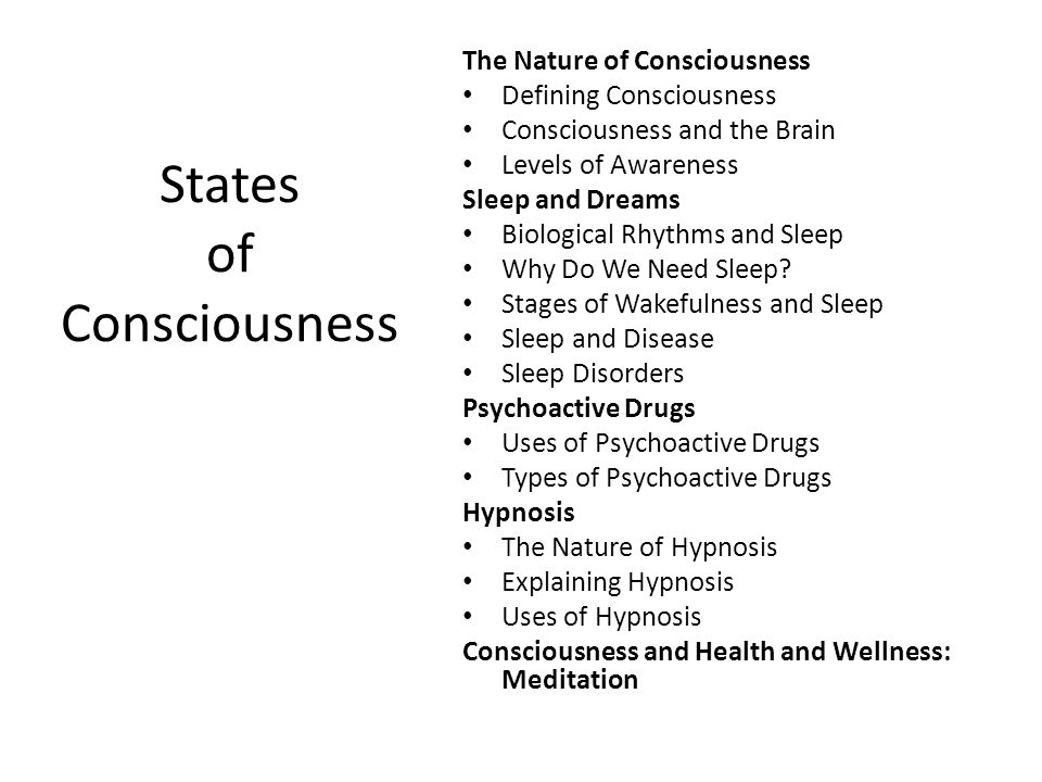 consciousness sleep dreams hypnosis and drugs This sample states of consciousness research paper is published for educational and informational purposes only  unconscious, subconscious), divided consciousness, dissociation and multiple personality, sleep and dreams, psychoactive drugs, meditation, and hypnosis  although the word is derived from the name of the greek god of sleep.