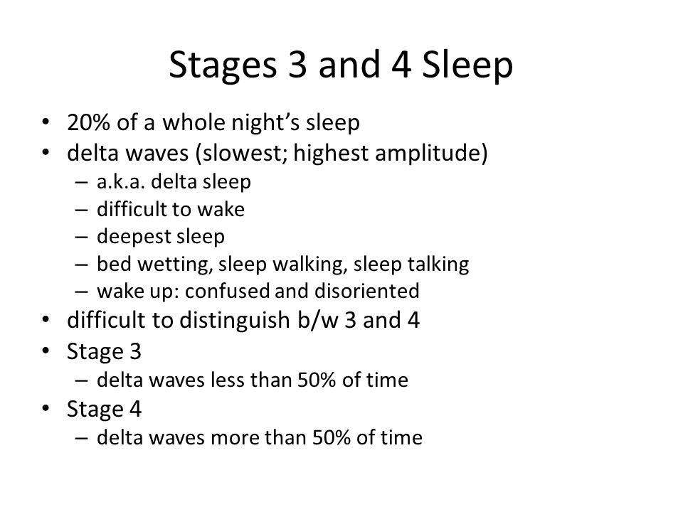 Stages 3 and 4 Sleep 20% of a whole night's sleep