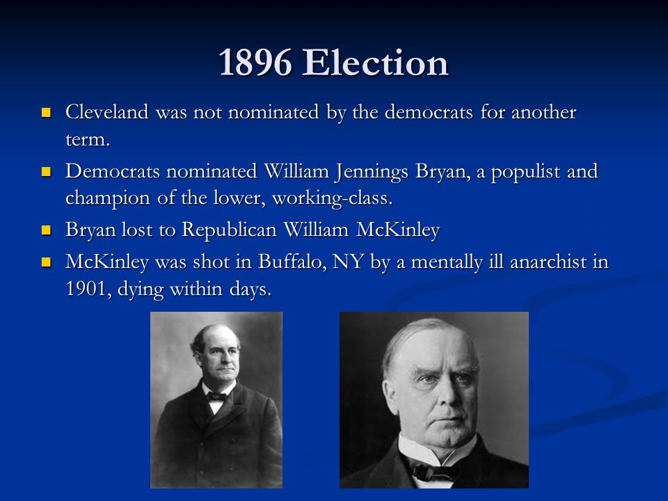 1896 Election Cleveland was not nominated by the democrats for another term.