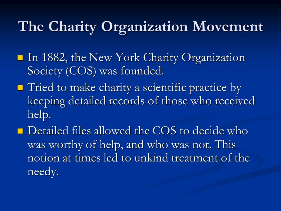 The Charity Organization Movement