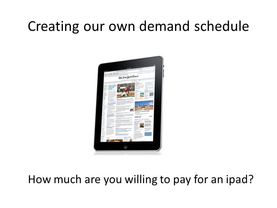 Creating our own demand schedule