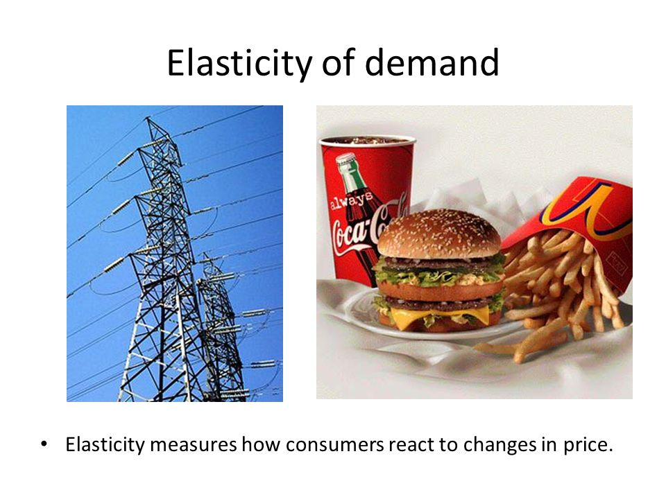 Elasticity of demand Elasticity measures how consumers react to changes in price.