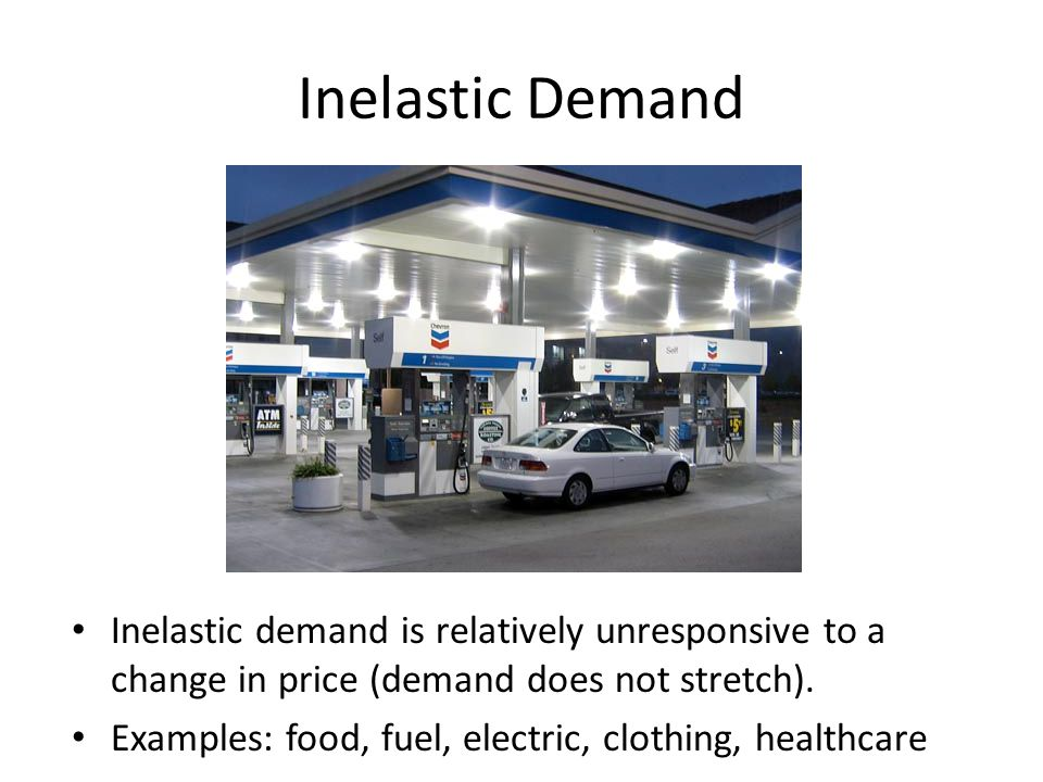 Inelastic Demand Inelastic demand is relatively unresponsive to a change in price (demand does not stretch).