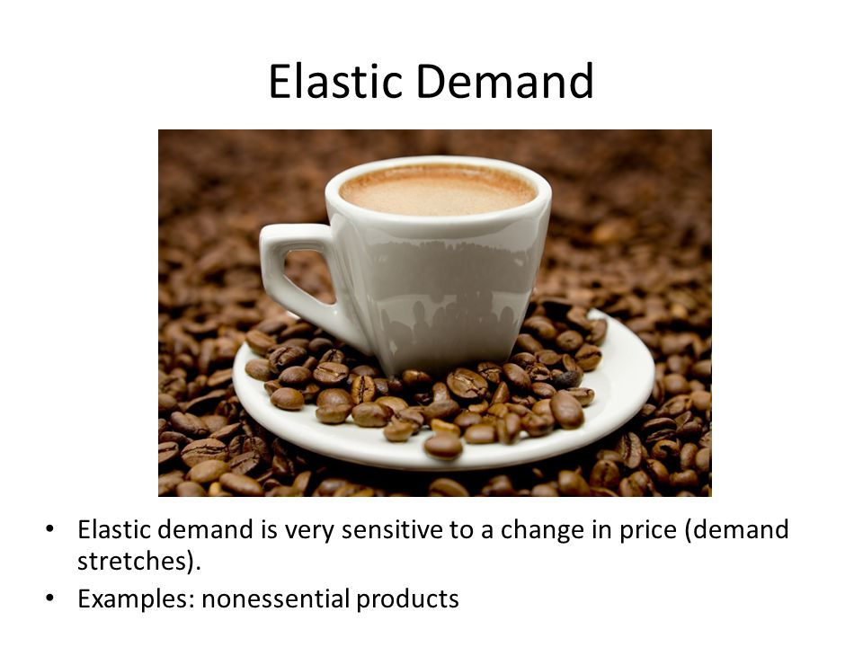Elastic Demand Elastic demand is very sensitive to a change in price (demand stretches).