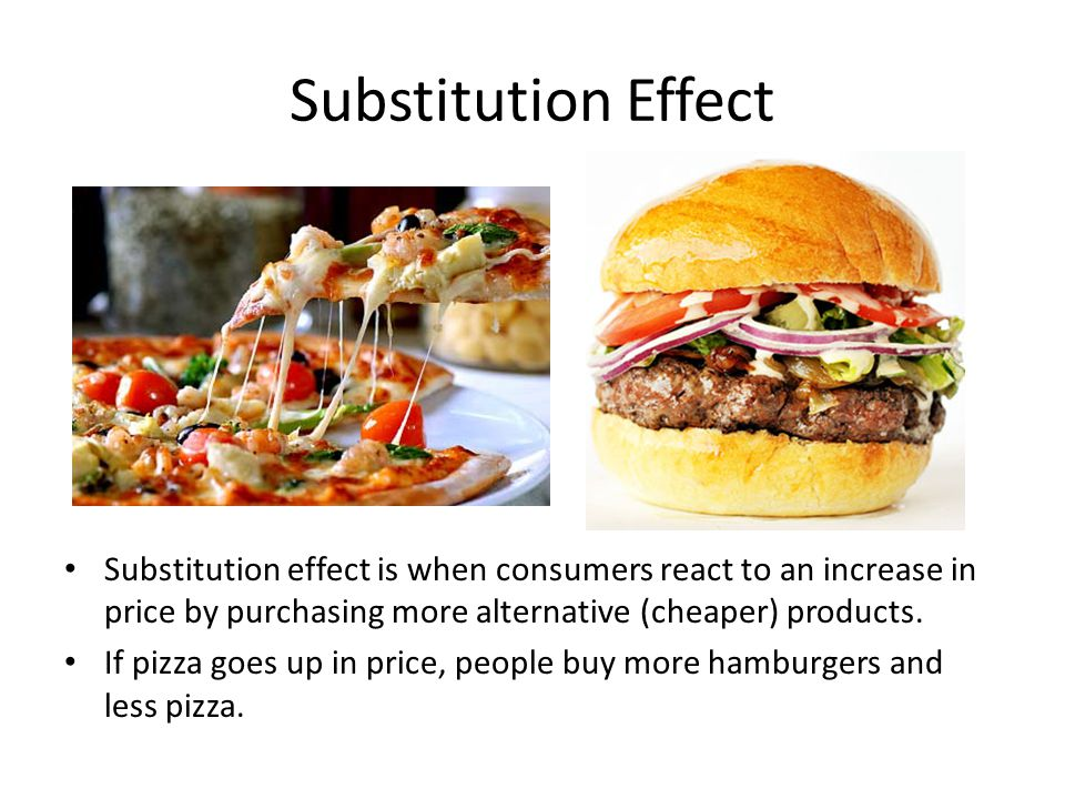 Substitution Effect Substitution effect is when consumers react to an increase in price by purchasing more alternative (cheaper) products.
