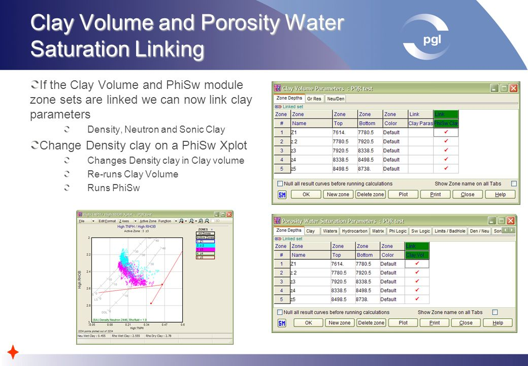 Clay Volume and Porosity Water Saturation Linking