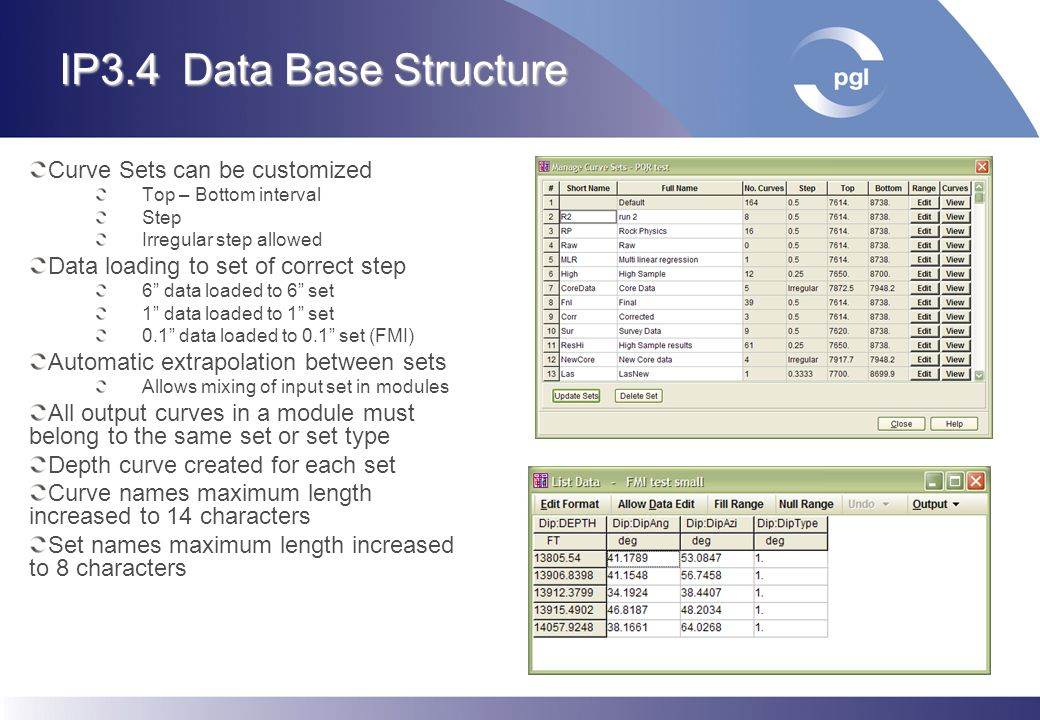 IP3.4 Data Base Structure Curve Sets can be customized