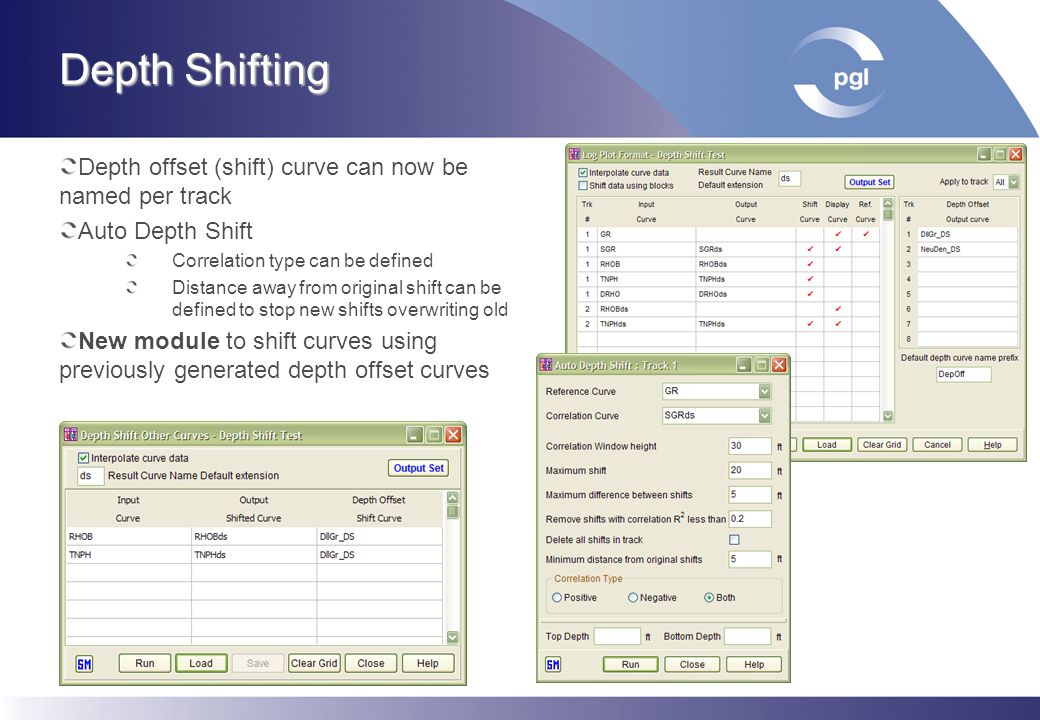 Depth Shifting Depth offset (shift) curve can now be named per track