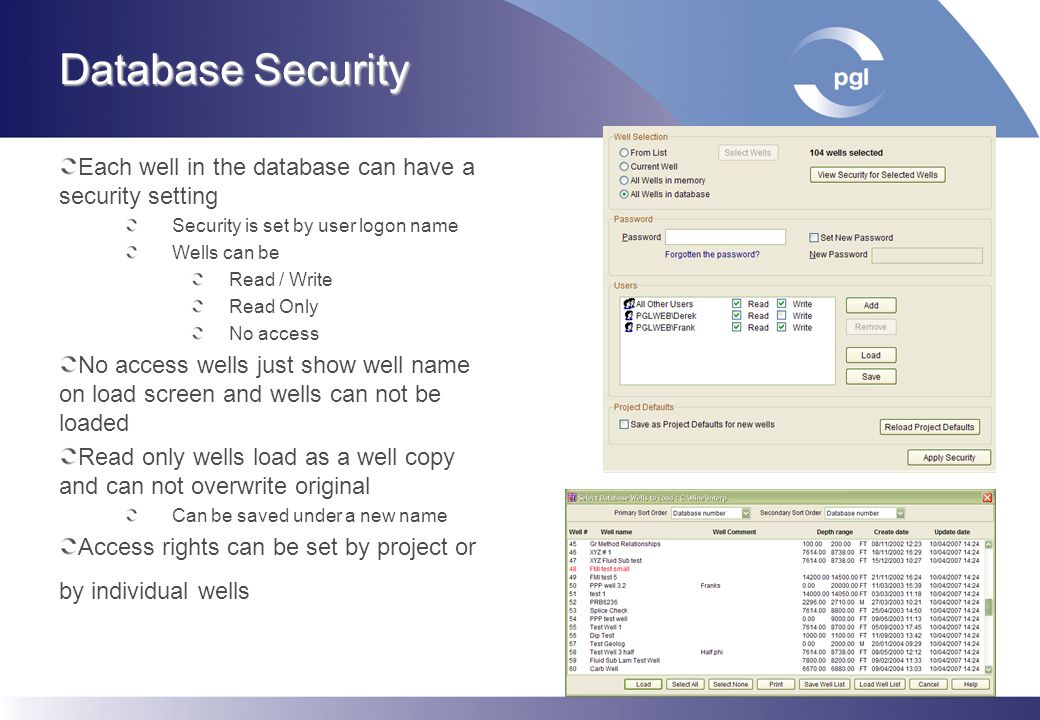 Database Security Each well in the database can have a security setting. Security is set by user logon name.