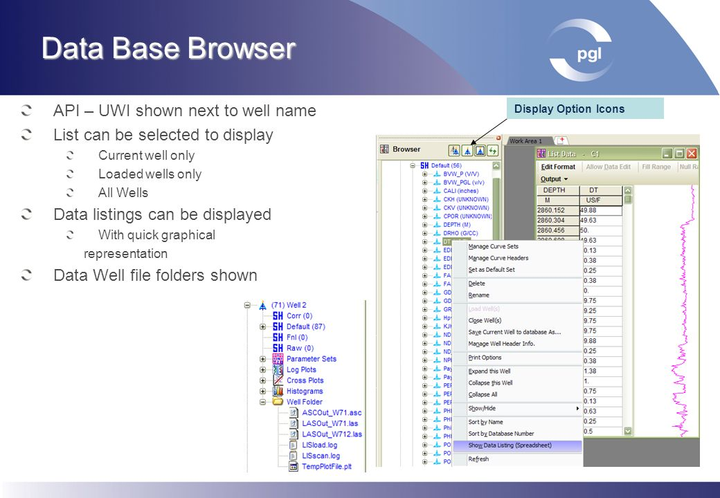 Data Base Browser API – UWI shown next to well name