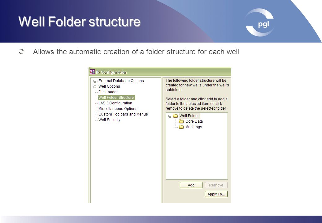Well Folder structure Allows the automatic creation of a folder structure for each well
