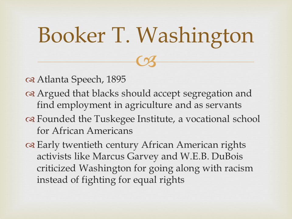 Booker T. Washington Atlanta Speech, 1895