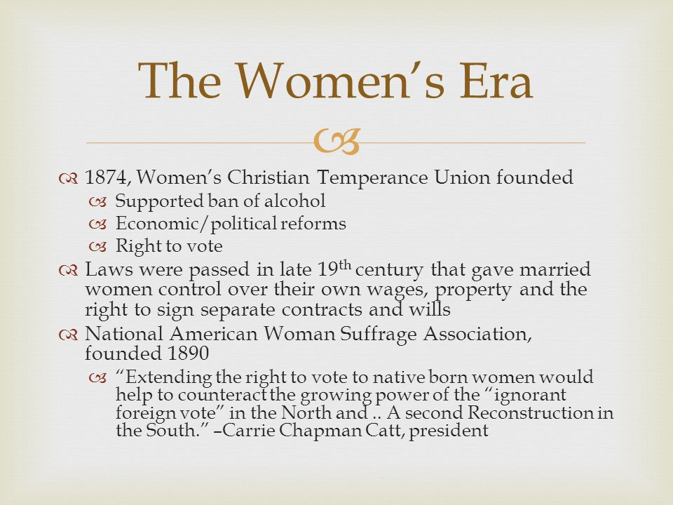 The Women's Era 1874, Women's Christian Temperance Union founded
