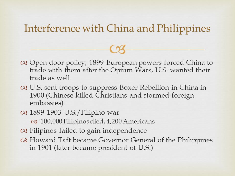 Interference with China and Philippines