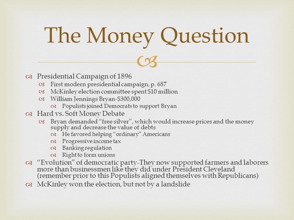 The Money Question Presidential Campaign of 1896