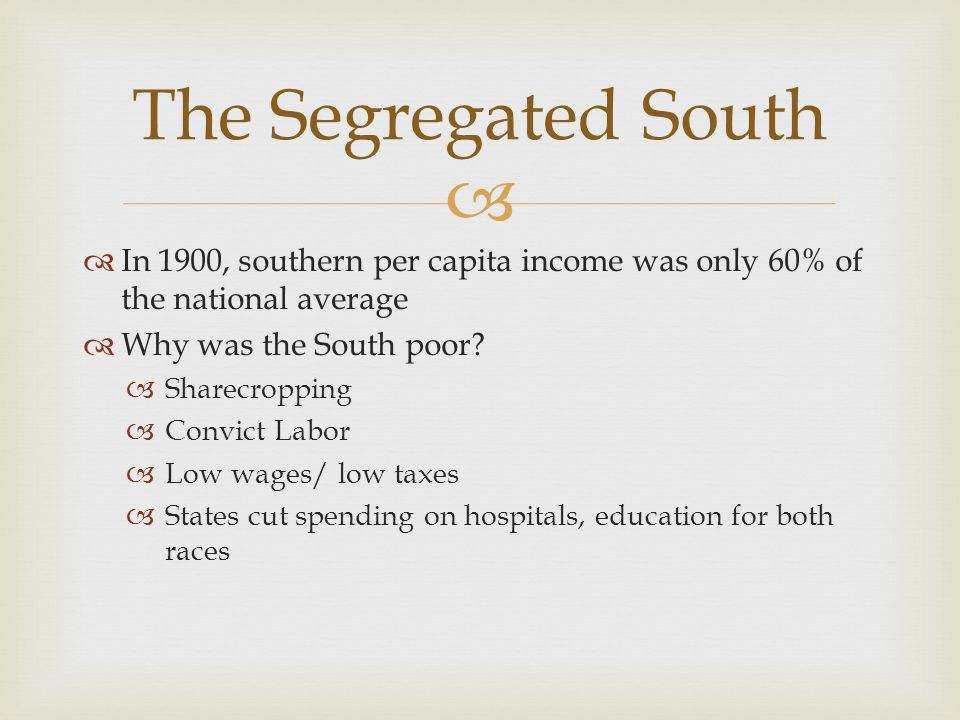 The Segregated South In 1900, southern per capita income was only 60% of the national average. Why was the South poor
