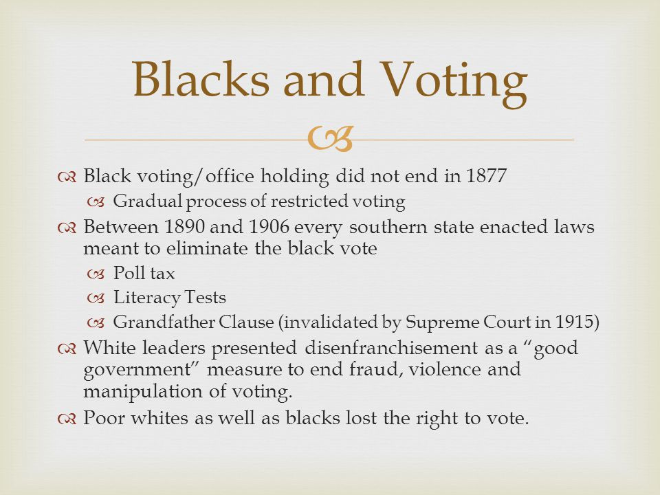 Blacks and Voting Black voting/office holding did not end in 1877