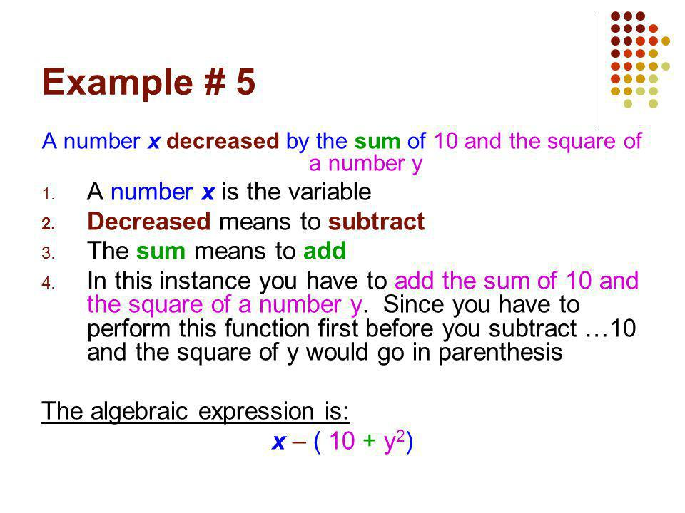 A number x decreased by the sum of 10 and the square of a number y