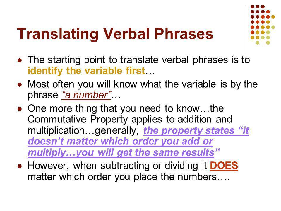 Translating Verbal Phrases