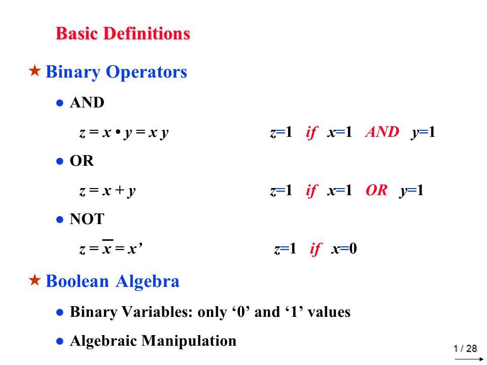 Boolean Algebra Postulates