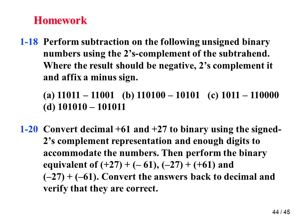 Homework 1-24 Represent decimal number 6027 in (a) BCD 1-29