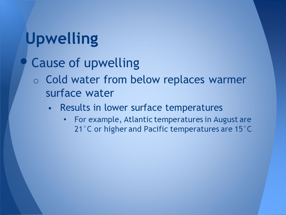 Upwelling Cause of upwelling