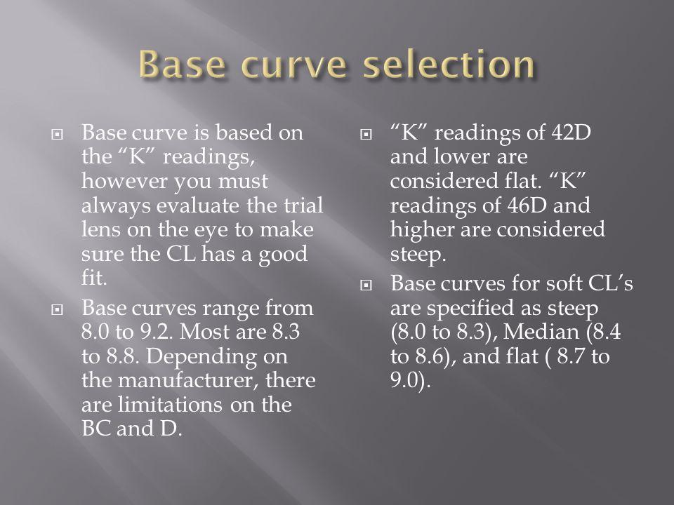 Base curve selection