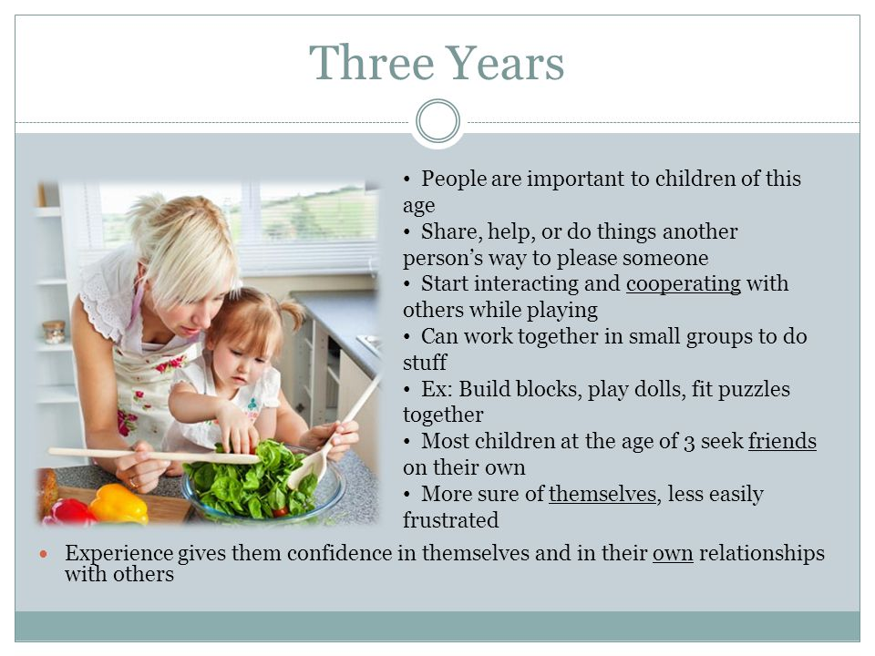 Three Years People are important to children of this age