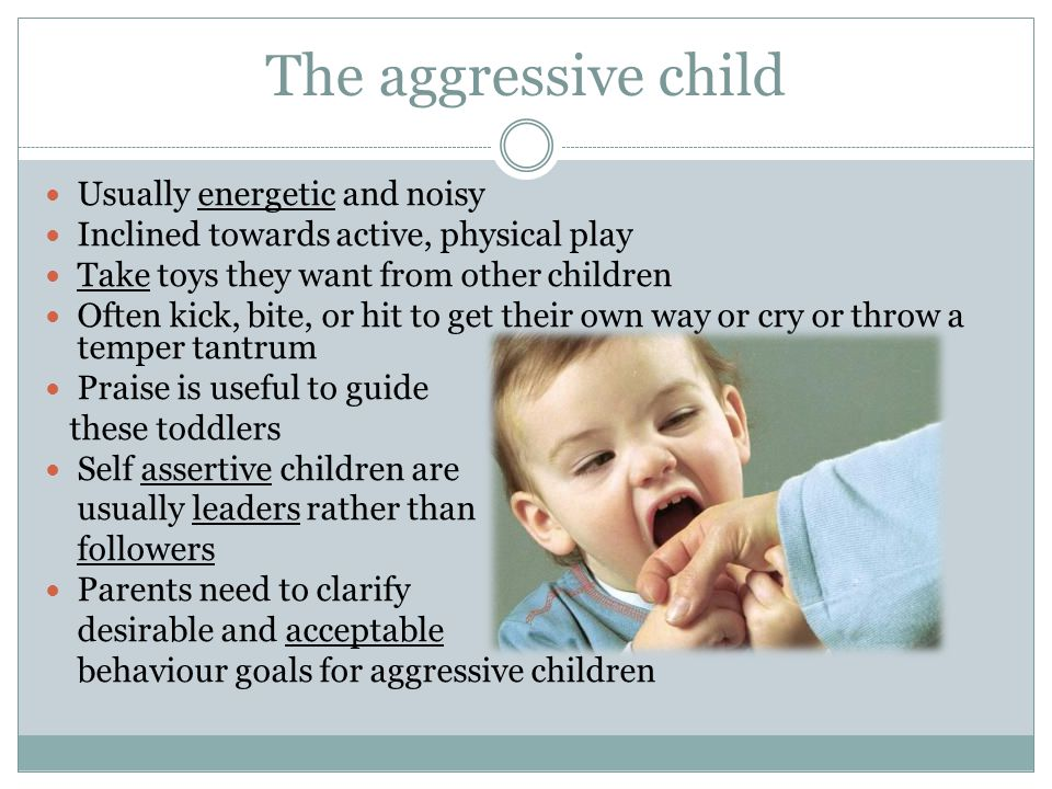 The aggressive child Usually energetic and noisy