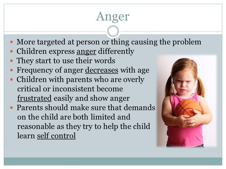 Anger More targeted at person or thing causing the problem