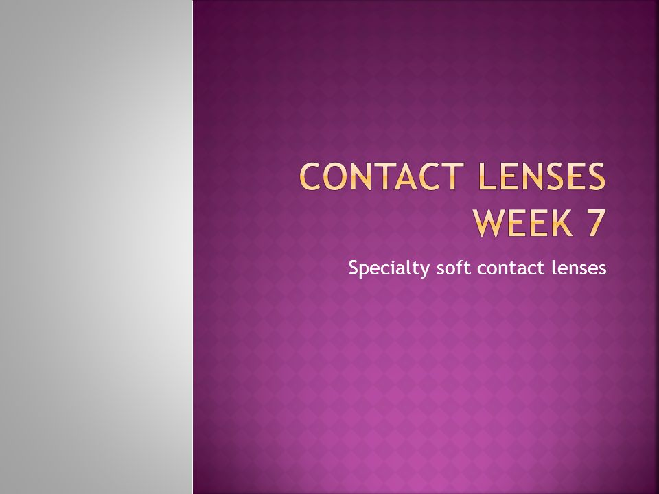 Specialty soft contact lenses