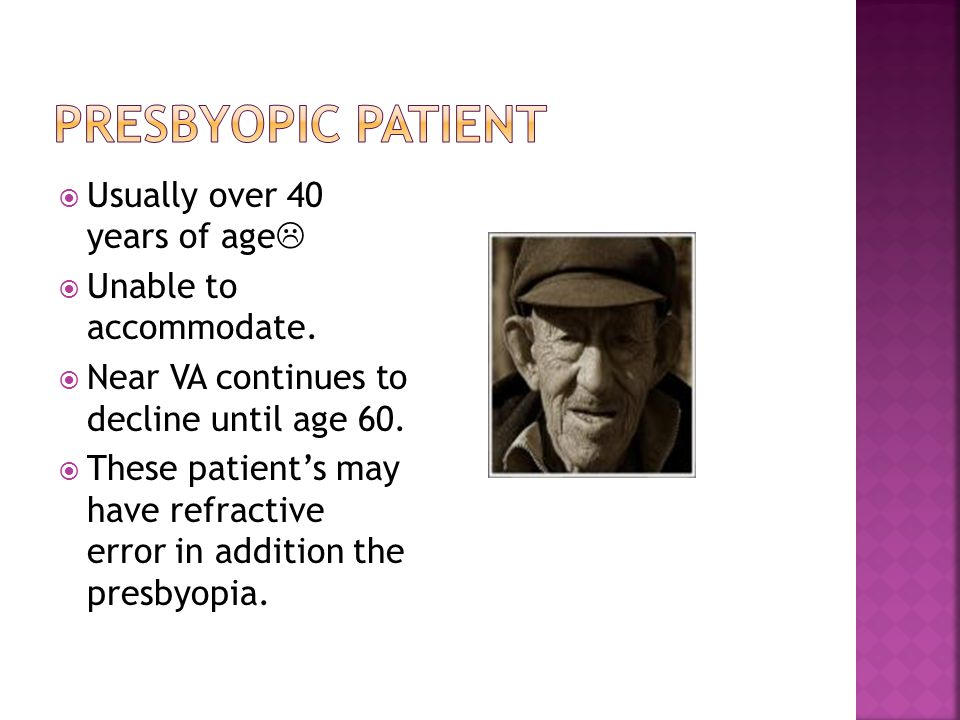 Presbyopic patient Usually over 40 years of age