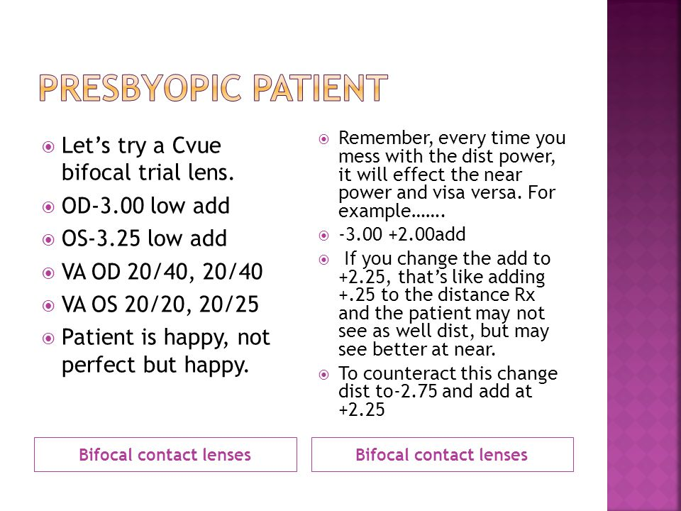 Bifocal contact lenses Bifocal contact lenses