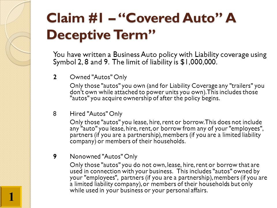 Claim #1 – Covered Auto A Deceptive Term