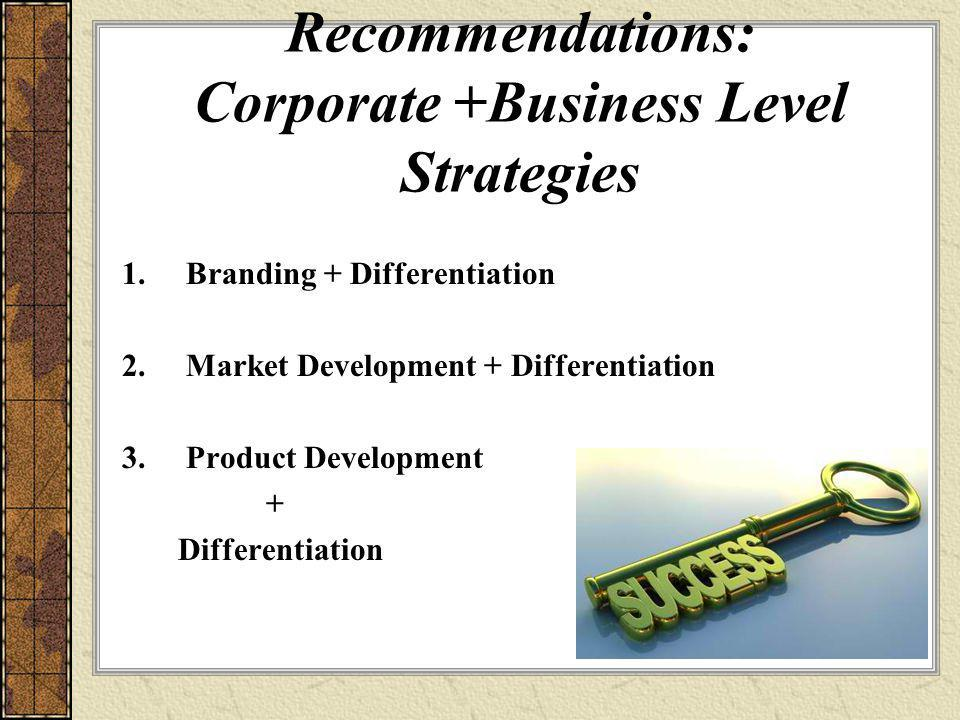 Recommendations: Corporate +Business Level Strategies