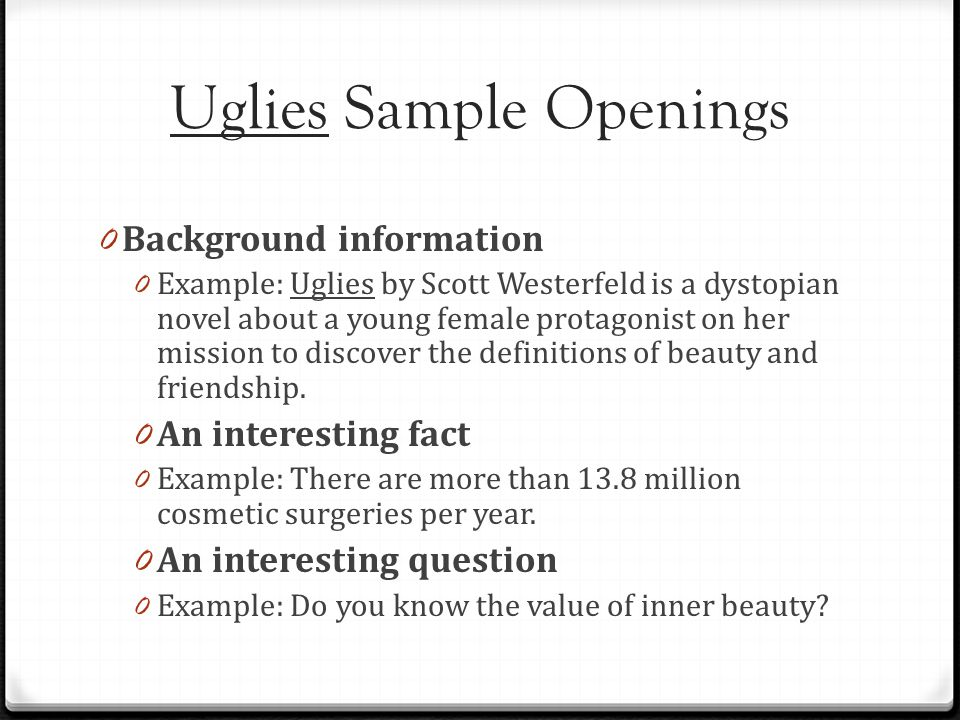 Uglies Sample Openings