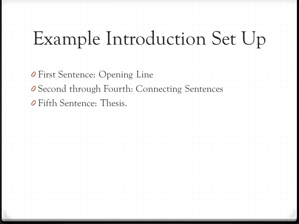 Example Introduction Set Up
