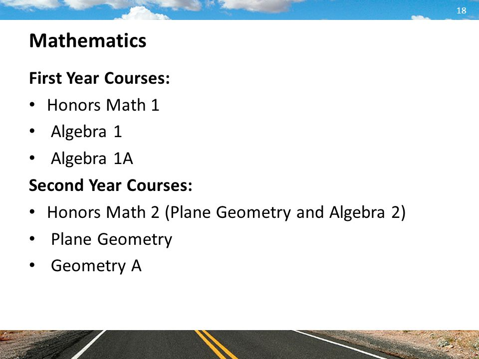 Mathematics First Year Courses: Honors Math 1 Algebra 1 Algebra 1A