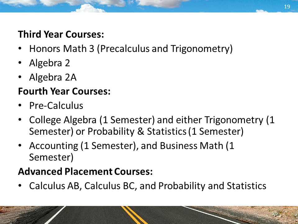 Third Year Courses: Honors Math 3 (Precalculus and Trigonometry) Algebra 2. Algebra 2A. Fourth Year Courses: