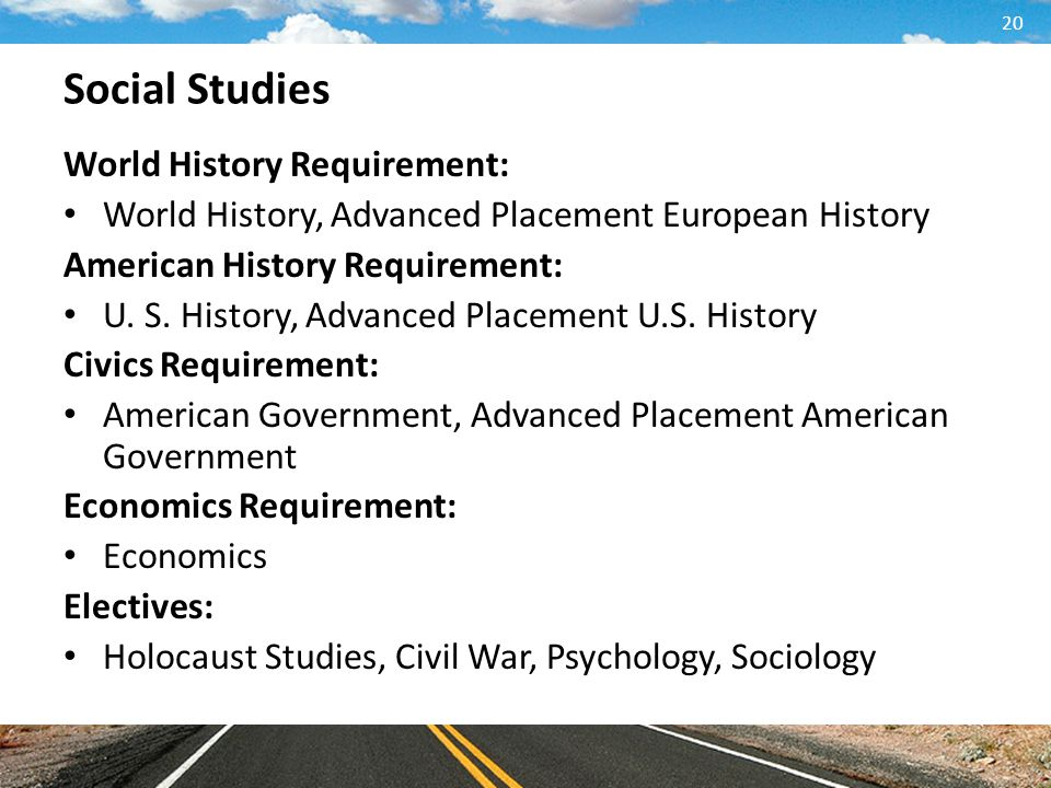 Social Studies World History Requirement: