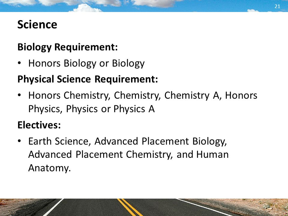 Science Biology Requirement: Honors Biology or Biology